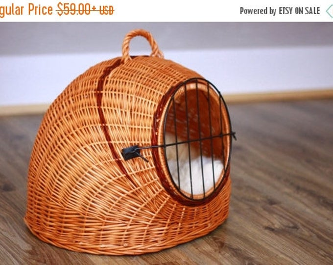 ON SALE Wicker Cat Dog bed , Cat Dog cave , pet bed , Cat Dog house ,pet furniture hand-felted with Genuine Real Sheepskin inside SALE - 20%