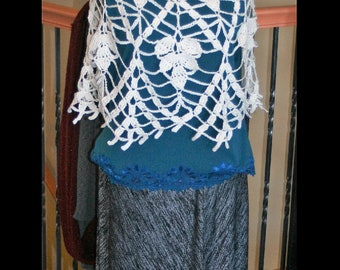 Crochet Poncho, crochet cape, crochet shawl, crochet jacket, crochet capelet - Blossom Capelet - many colors