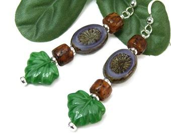 Boho Woodland Earrings, Green Leaf Purple Sunburst Dangles, Nature Inspired Bohemian Tribal Jewelry, Czech Glass Leaves, Organic Handmade