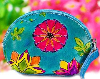 Change purse, leather coin purse, womens purses, key purse, earphone case, hand painted coin bag