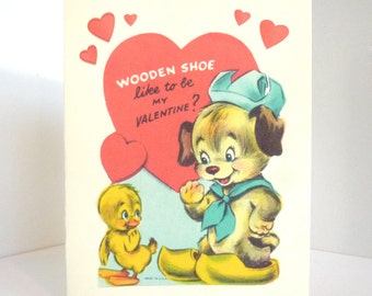 Vintage Dog and Duckling Valentine Card Reproduction