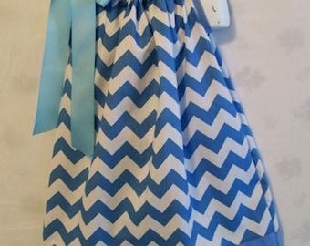 Girls Dress, Blue Chevron Pillowcase Dress, Girls Clothing, Baby Toddler  Dress,  Girls Dresses, Made in the USA, #36