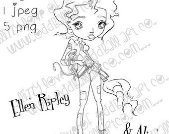Digital Stamp Instant Download Big Eye Sci-Fi Girl Ellen & Baby Alien Ripley ~  Image No. 400  by Lizzy Love