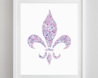 Fleur De Lis Floral Watercolor Art Print - Kappa Kappa Gamma