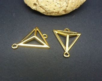 2 connectors triangle 3D geometric 20 * 17mm gold-plated Zamak (PPCD01)
