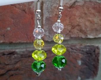 Green spring summer earrings