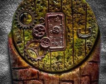 fairy door, steampunk, cogs, watch, clock, goblin door