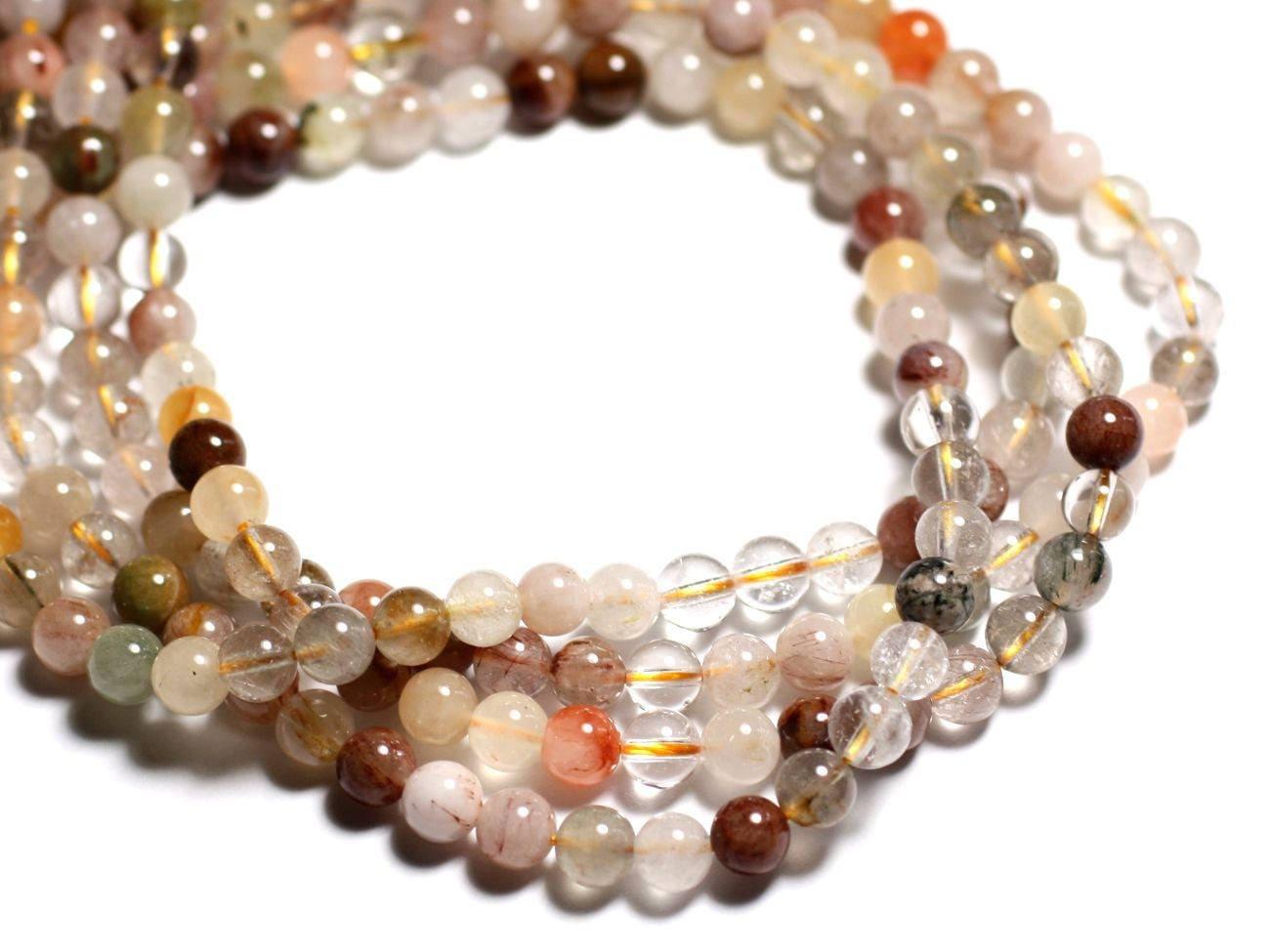10pc perles de pierre quartz multicolore et rutile boules. Black Bedroom Furniture Sets. Home Design Ideas