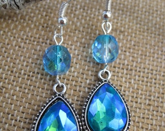 Blue Cosmos Iridescent Dangle Earrings
