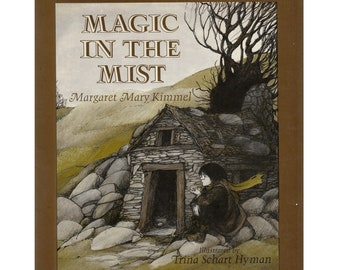 children's Welsh fantasy picture book Magic In The Mist, Trina Schart Hyman illustrations, Wales wizard student, retro Harry Potter gift