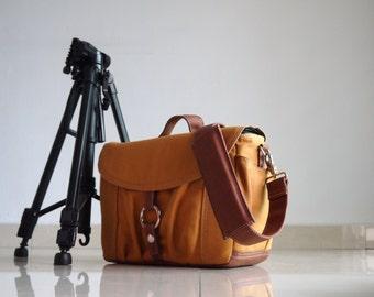 Sale SALE - 25% Koi-S, Almond Brown, Canvas Camera Bag/ Dslr Bag/ Camera Bag/ Camera Messenger Bag / dslr camera bag/ Women Camera Bag