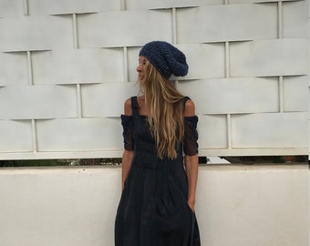 Blue fleck hat, chunky beanie, hand knit hat  beanie, chunky slouchy beanie,