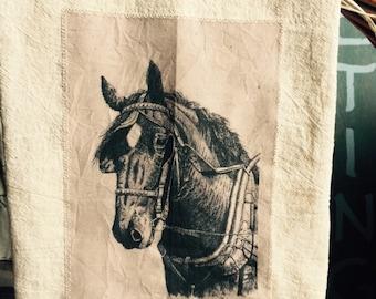Draft horse floursack tea towel