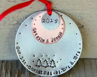 Mrs and Mrs Ornament - Hers and Hers Ornament - Mrs and Mrs - Gay Ornament - Mr and Mr gift - Lesbian - LGBT - Just Married - Gay Pride