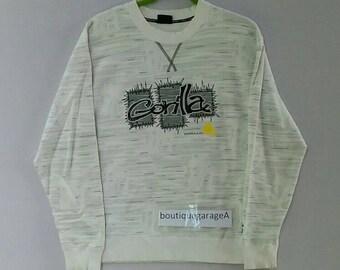 Rare!! Gorilla sweatshirt spellout pull over jumper sweater white colour medium size