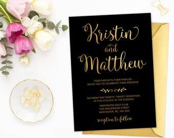 Black Gold Wedding Invitation, Black Gold Wedding, Black Gold Wedding Invite, Faux Gold Foil Wedding Invitation, Wedding Printable BGWS