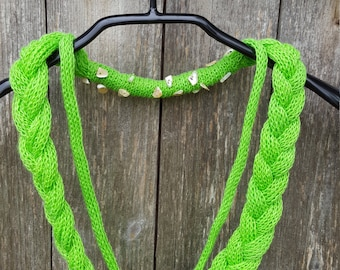 Linen Necklace bright green Unique handmade scarf knit linen natural necklace linen jewelry beaded necklace fashion accessories gift for her