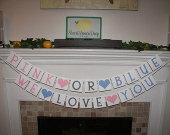 gender reveal party decorations decor Pink Or Blue We Love You Banner - Baby - Shower - Photo Prop