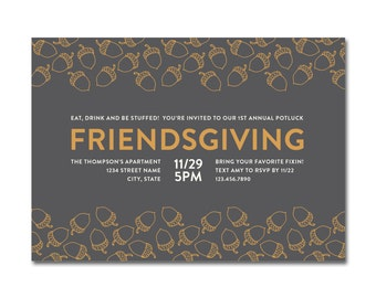 Friendsgiving 5x7 Invitation with hand-drawn acorns - Thanksgiving Potluck Dinner - Printable and Personalized