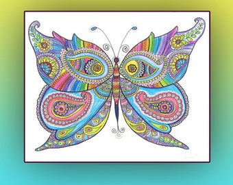 Instant Digital Download PRINT, Butterfly painting Poster, Nursery Wall Decor Butterfly Drawing , Butterfly Zentangle Paisley Doodle Drawing