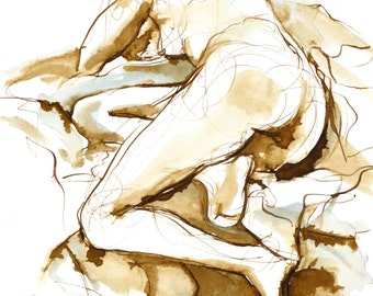Nude Female Figure Reclining Away, Original Drawing, Pen and Ink and Watercolor on Paper, Original Mixed Media Art, Life Drawing