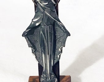"""Vintage Pewter Virgin Mother Mary Statue on Ebony Wood and Stone Base 5-1/2"""""""