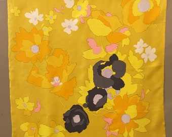 Christian Dior Abstract Floral Silk Scarf, Yellow Orange Floral Silk Scarf, Mid Century Silk Scarf, Dior Accessory