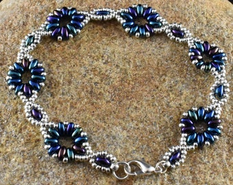 Blue Flower Chain Bracelet