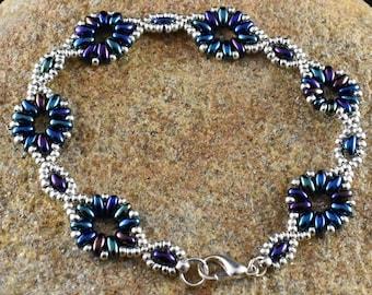 Blue Flower Chain Bracelet