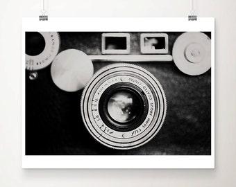 vintage camera photograph black and white photography vintage camera print lens photograph minimalist decor vintage camera art