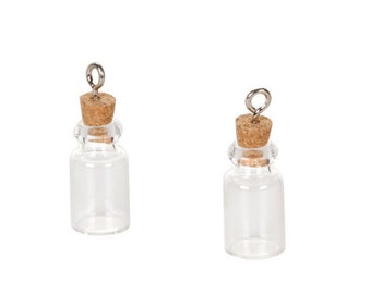 """Set of 4  Tiny 7/8"""" Glass Vial Pendants with Cork Stoppers and Silver Wire Loops"""