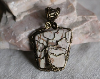 Jasper Tree of Life Pendant with Vintage Bronze color wire