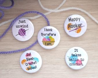 Crochet Badge Set - Crochet Gift - Crochet Badge - Pin Badge - Pingame - Crochet Badge - Woolly creations - Gift for Her - Crochet Humour