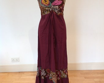 Maroon halter neck summer dress, one of a kind, boho style, ethnic dress, bohemian, summer dress, festivals