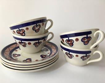 4 tea cups with vintage plates Richard Ginori