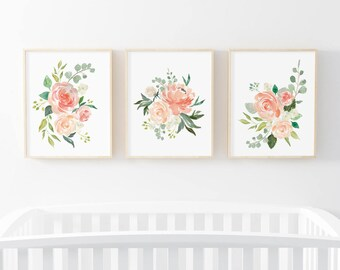 Cream and Peach, Set Of 3 Floral Prints, Nursery Decor, Floral Prints, Nursery Wall Art, 3 Pack Nursery Print, Watercolor Flowers, Bouquet
