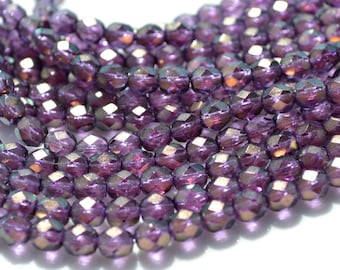 Halo regal Purple Czech Glass 6mm Facetd Fire Polish Round Beads  25