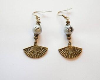 Grey and bronze fan earrings