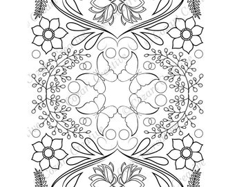 Adult coloring page, kaleidoscope, flower, butterfly, swirl, lotus, stylized flower.  Spring Flowers. PDF