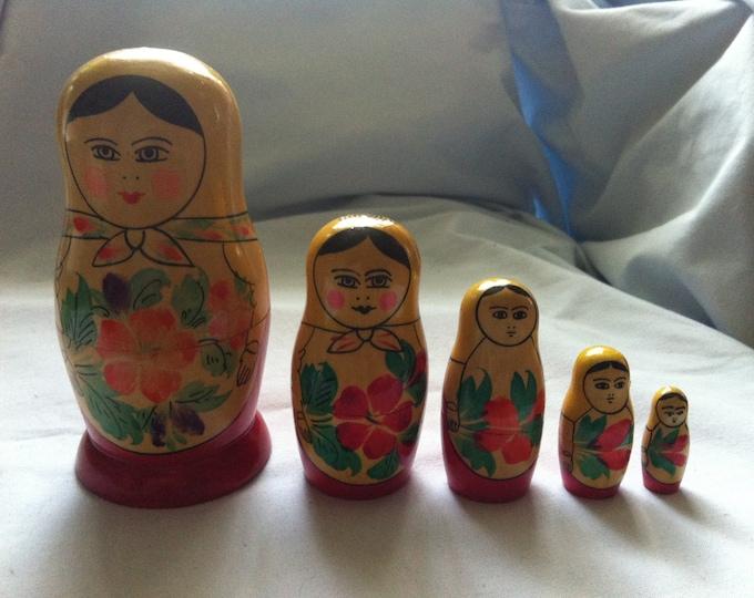 Vintage Matrjoschka Babushka Wooden Doll