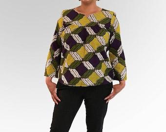 Top long sleeve ethnic green, yellow, purple