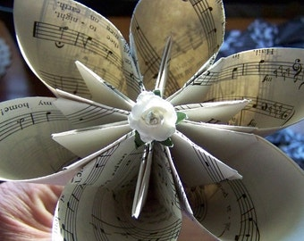 Sheet Music Paper Flowers 2 - 5 inch on Wooden Stems Included