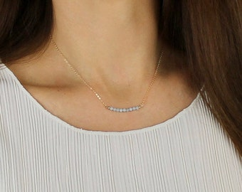 Dainty Aquamarine Bar Necklace - March Birthstone Gift Necklace - Aquamarine Jewelry - Aquamarine & 14k Rose Gold or Silver Chain Necklace