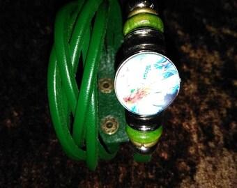 Green goddess leather bracelet