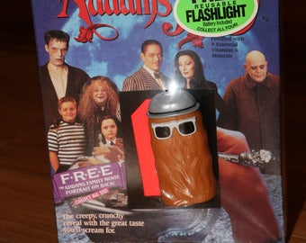 Addams Family Cereal (1991) Cousin It Flashlight Sealed Box Ralston 1990s Morticia Gomez Pugsley Lurch Adams Thing Coffin Car Haunted House