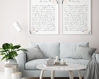 his and her vows printable · paper anniversary · first anniversary · wedding keepsake · vows wall art · wedding gift · wedding vows print