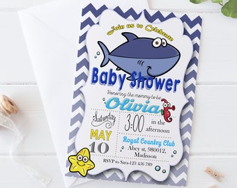 Shark Baby Shower Invitation / Digital Printable Blue Invite