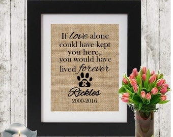 Personalized Pet Memorial on Burlap - IF LOVE ALONE - Monogrammed Pawprint - Loss of a Pet - Dog/Cat  Name and Dates - In Memory of a cat