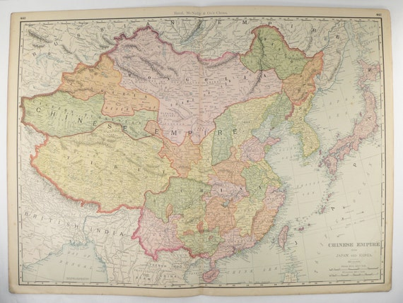 Large china map japan korea map taiwan 1903 antique map like this item gumiabroncs Image collections