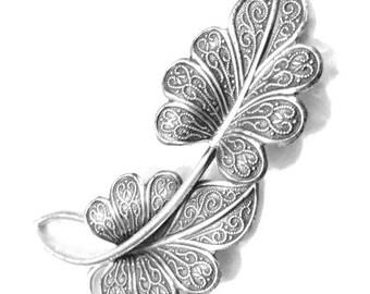 Beau Sterling Silver Leaf Brooch Pin